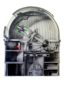 The 4 meter Blanco telescope. The green circle marks the location of the prime focus cage where DECam will be mounted. Credit: CTIO/AURA/NSF
