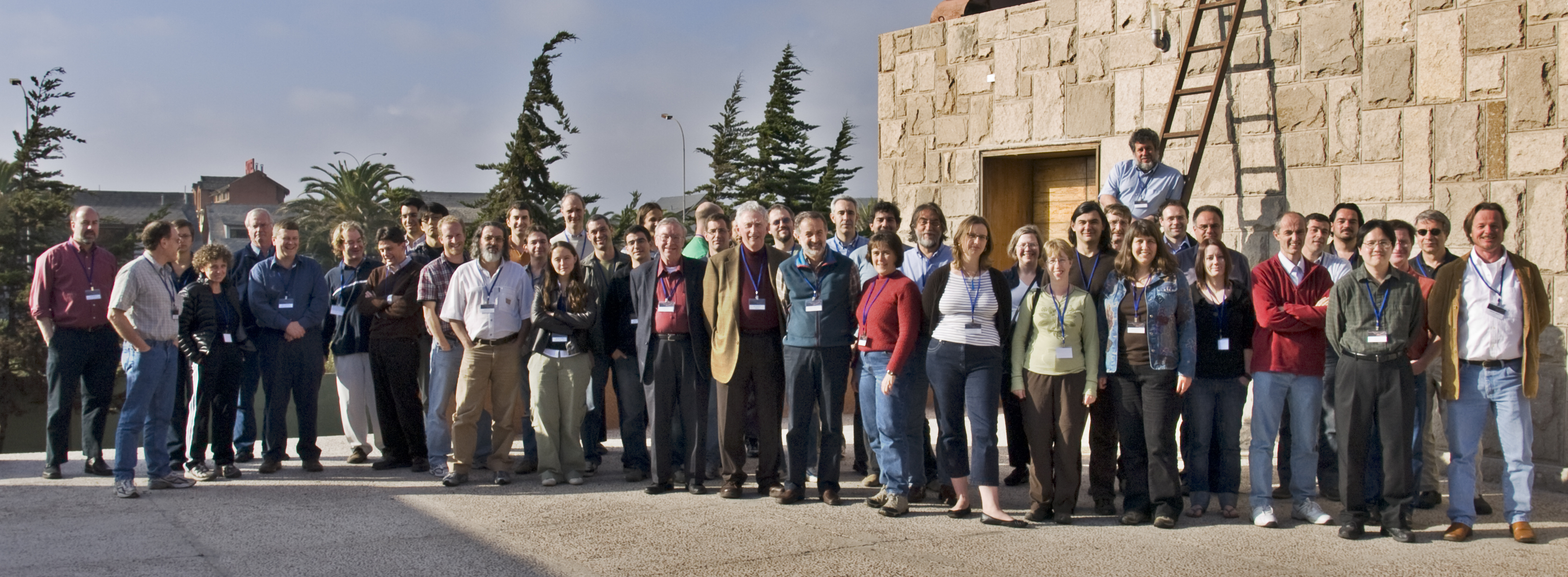 The collaborating astronomers of the Dark Energy Survey at a group meeting in la Serena, Chile. (Not a pipe to be seen!)
