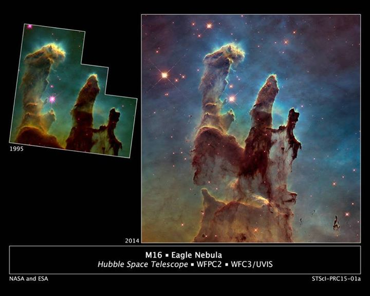 Hubble 25th anniversary image of the Pillars of Creation